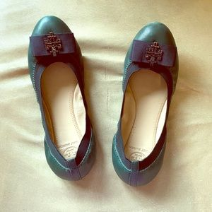 Tory Burch hunter green ballet / ballerina flats